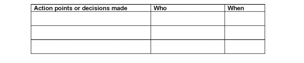 Example table for listing action points